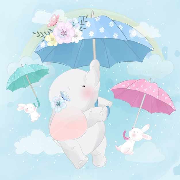 Cute elephant and bunny flying with umbrella Premium Vector