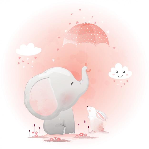 Cute elephant and bunny with umbrella. Premium Vector