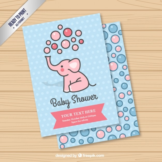 Cute elephant card for baby shower