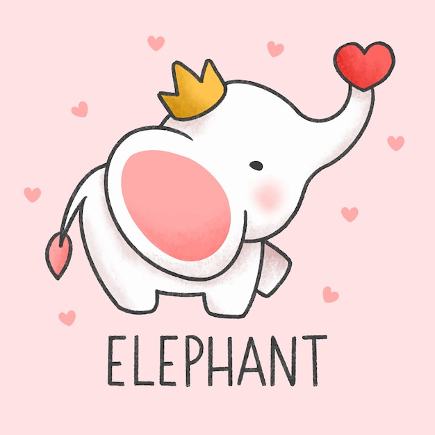 Cute elephant cartoon hand drawn style Premium Vector