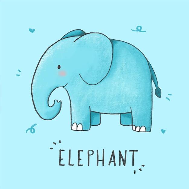 Cute elephant cartoon hand drawn style Premium Vector