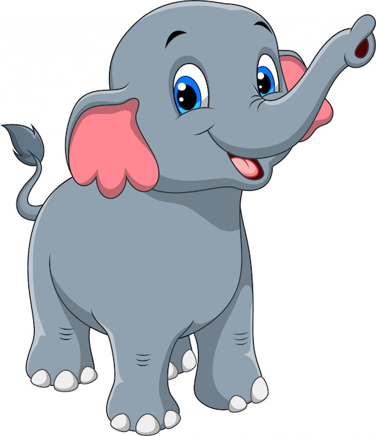 Cute elephant cartoon Premium Vector