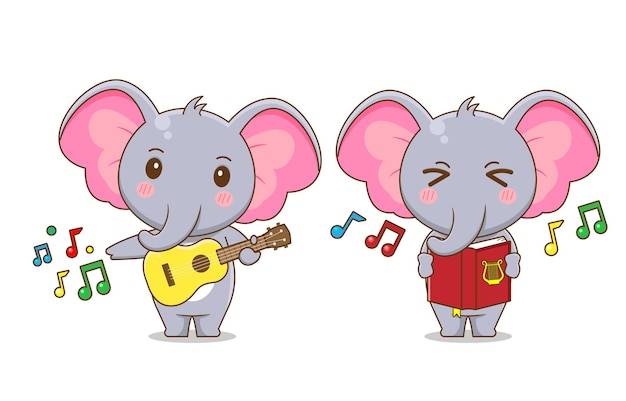 Premium Vector | Cute elephant character playing music and singing isolated  .