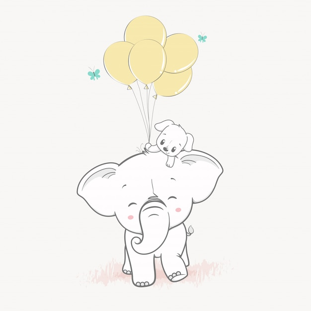 Cute elephant and cute dog with balloons Premium Vector