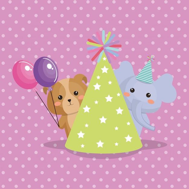 Cute elephant and doggy sweet kawaii birthday card Free Vector