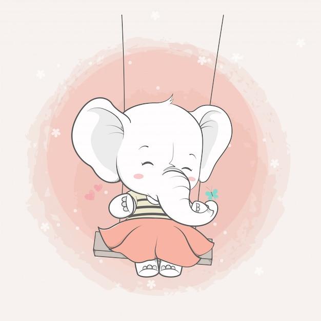 Cute elephant girl in the swing cartoon hand drawn Premium Vector