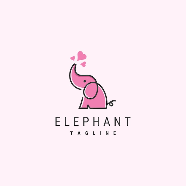 Cute elephant logo template Premium Vector