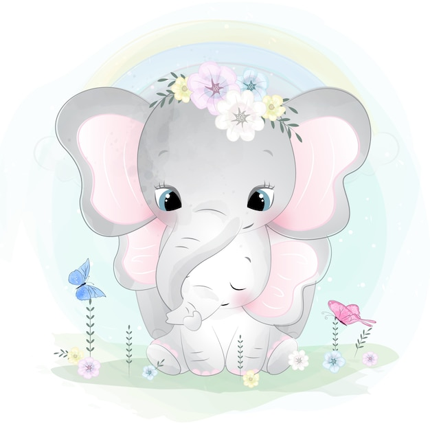 Cute elephant mother and baby Premium Vector