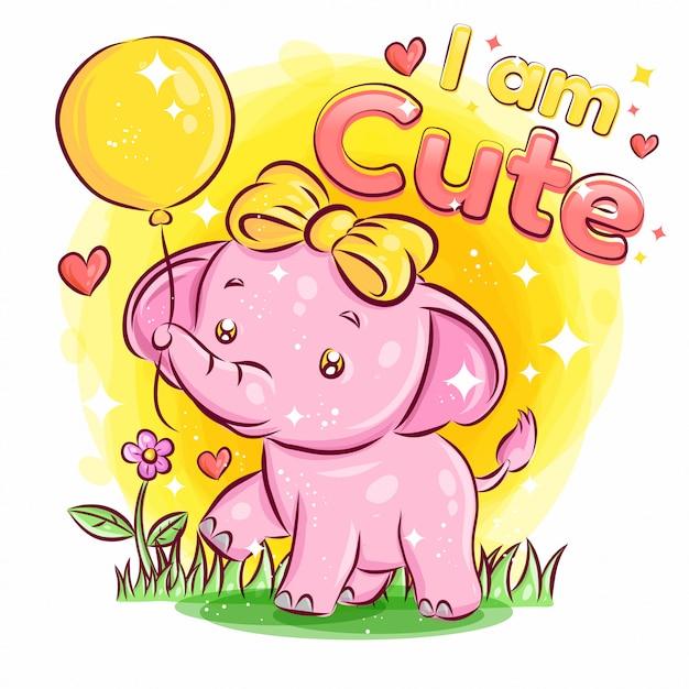 Ballon과 느낌 사랑으로 귀여운 코끼리 놀이. 화려한 만화 일러스트 레이션 프리미엄 벡터