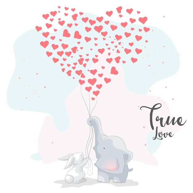 Cute elephant romantic couple with love balloon Premium Vector