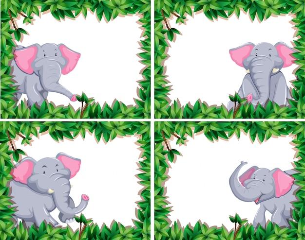 Cute elephant set of four Premium Vector