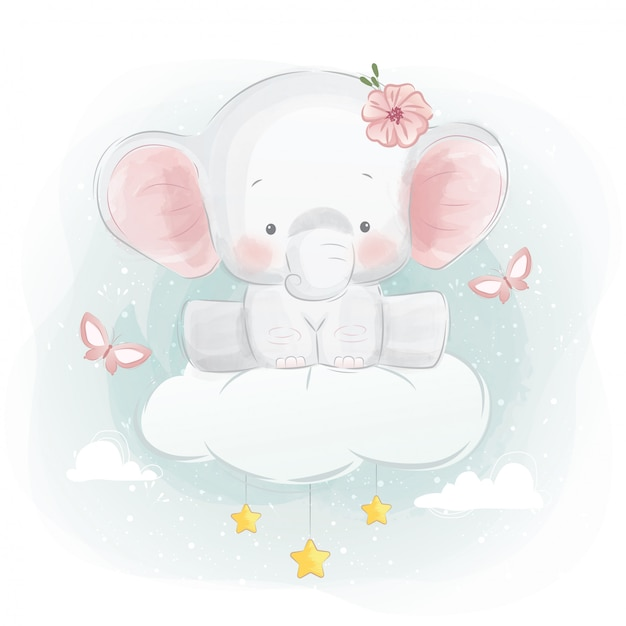 Cute elephant sitting on a cloud Premium Vector