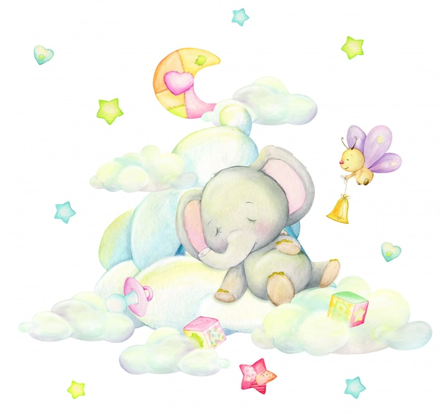 Cute elephant sleeping in the clouds, against the background of the moon, butterflies, stars, in cartoon style. watercolor illustration Premium Vector