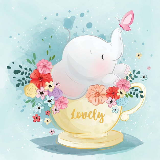 Cute elephant in the spring tea cup Premium Vector