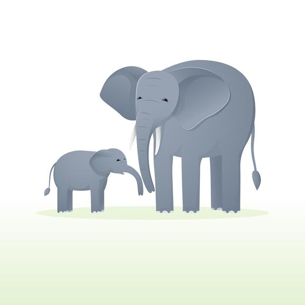 Милый слон с слоненка. животное дикой природы плоский мультфильм. Premium векторы