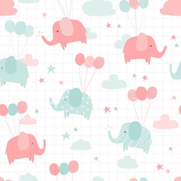 Cute elephant with balloon cartoon doodle seamless pattern Premium Vector