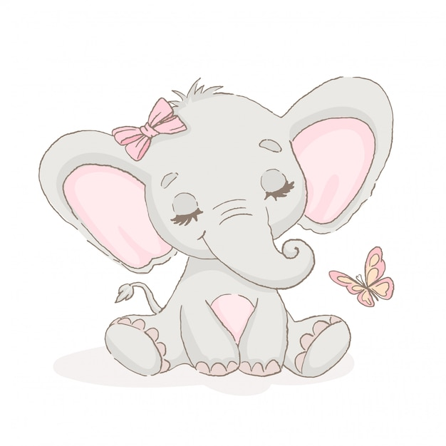 Cute elephant with a butterfly Premium Vector