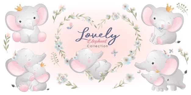 꽃 컬렉션 귀여운 코끼리 프리미엄 벡터