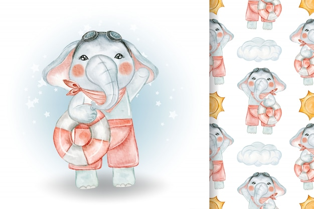 Cute elephant with swimming buoy watercolor illustration and pattern Premium Vector