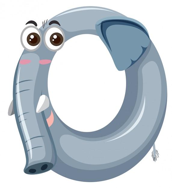 Cute elephant zero number Free Vector