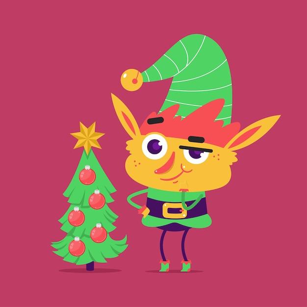 背景に分離されたクリスマスツリーとかわいいエルフのキャラクター。 Premiumベクター