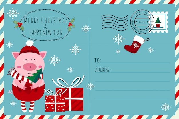 Cute elf piglet christmas and new year postcard Premium Vector