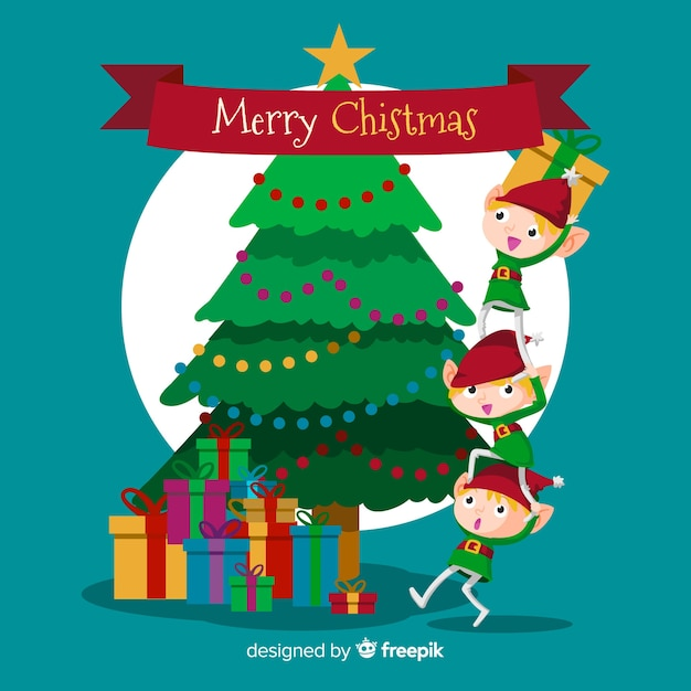 Cute elves and tree merry christmas background in flat design Free Vector