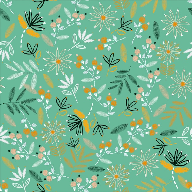 Cute embroidery mood hand stitch seamless pattern. traditional blooming embroidery. vector illustration design for home decore, fashion, fabric, wallpaper and all prints Premium Vector