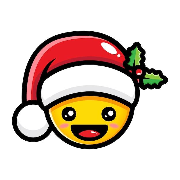 premium vector | cute emoji wearing santa claus hat  freepik