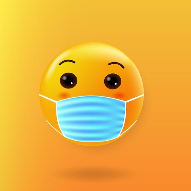 Симпатичные эмодзи с маской для рта new normal Premium векторы