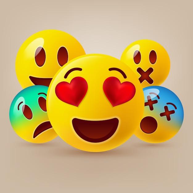 Cute emoticons set Premium Vector
