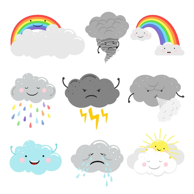 Cute emotional clouds weather emoticons Premium Vector
