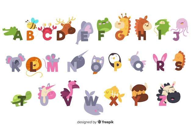 Cute english alphabet with animals Free Vector