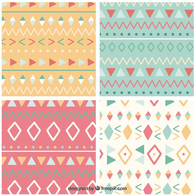 Cute Ethnic Patterns Vector Free Download