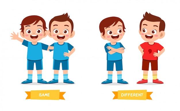 Cute example of opposite word antonym for kid Premium Vector
