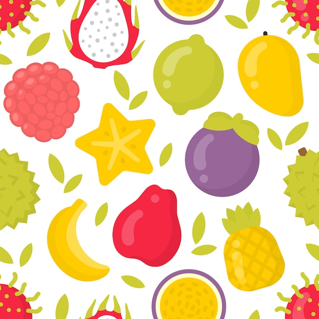 Cute exotic fruits, seamless pattern on white Premium Vector