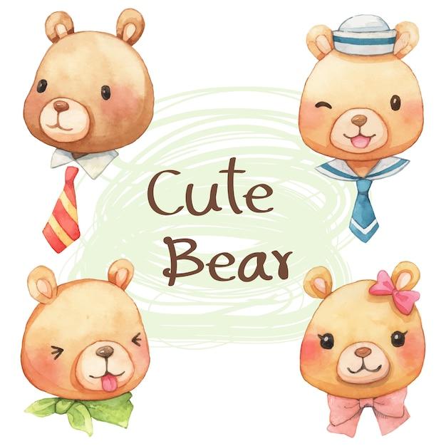 Милые лица медведя мультфильм акварель Premium векторы
