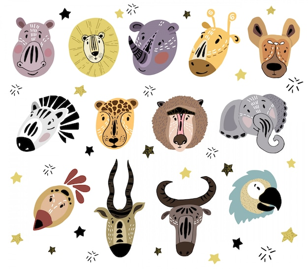 Cute faces of cartoon african animals Premium Vector