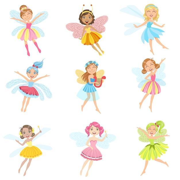 Cute fairies in pretty dresses girly cartoon characters set Premium Vector