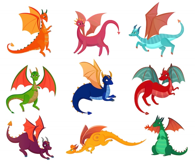 Cute fairy dragons set Free Vector