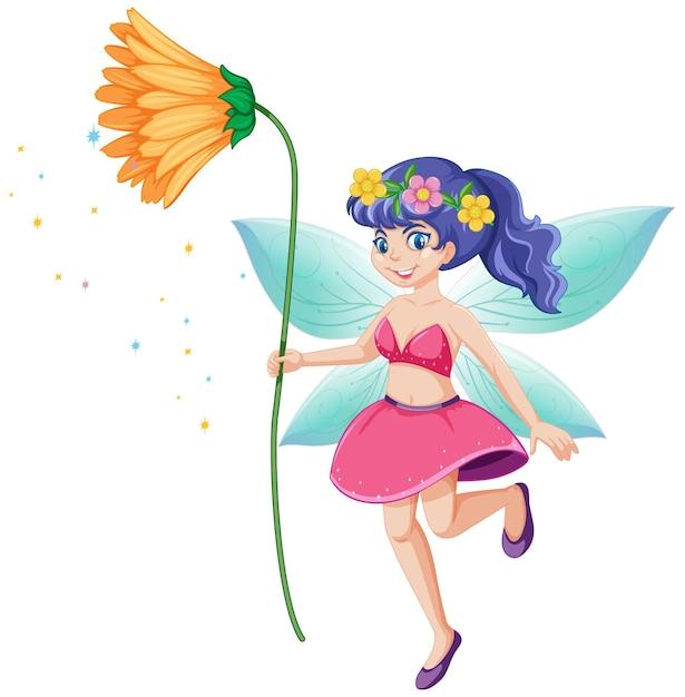 黄色い花の漫画のキャラクターを保持しているかわいい妖精 無料ベクター