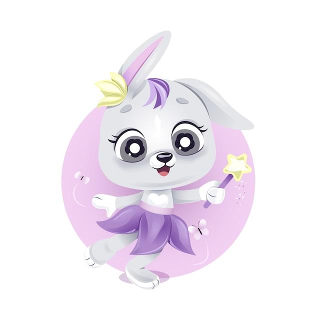 魔法の杖でかわいい妖精のウサギ Premiumベクター