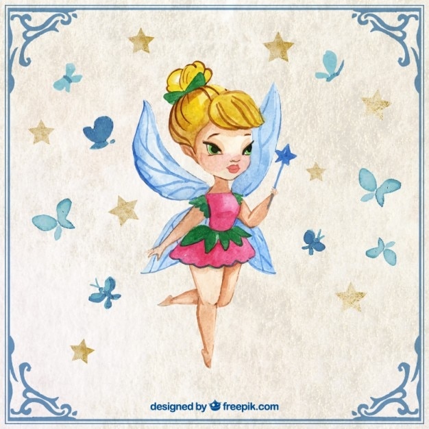Cute fairy with a wand in a watercolor effect Free Vector