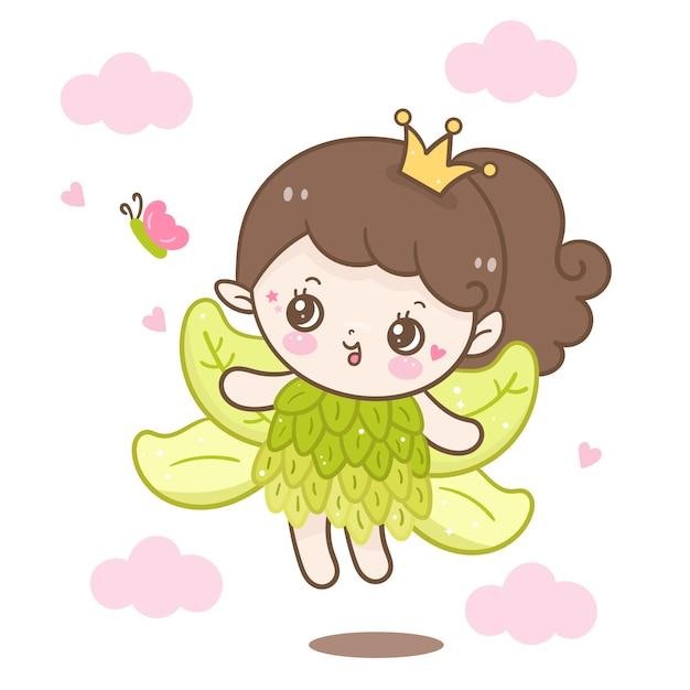 Cute fairytale princess with butterfly cartoon Premium Vector