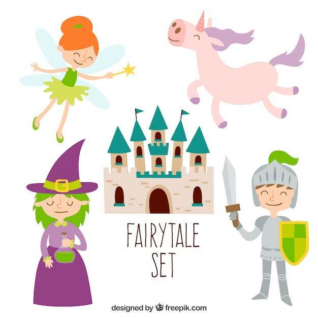 Cute fairytale set Premium Vector