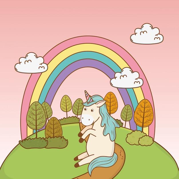 Милый сказочный единорог с радугой в поле | Премиум векторы