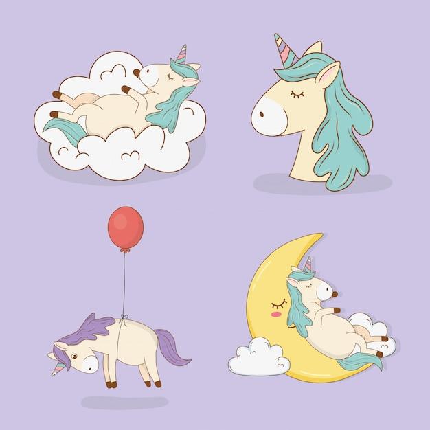 Cute fairytale unicorns characters Premium Vector