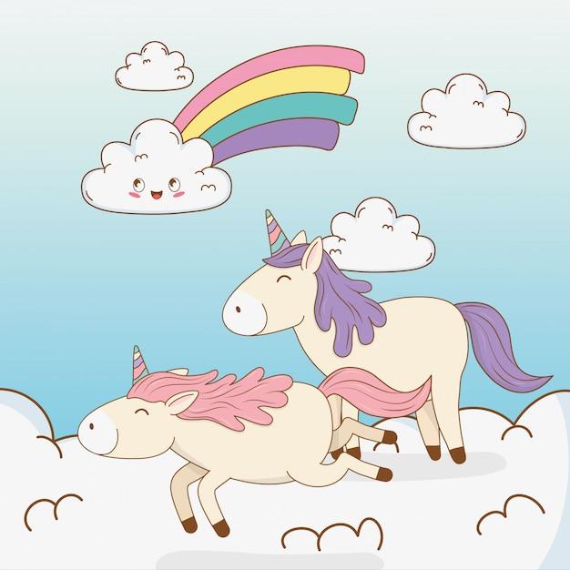 Cute fairytale unicorns in clouds with rainbow Premium Vector