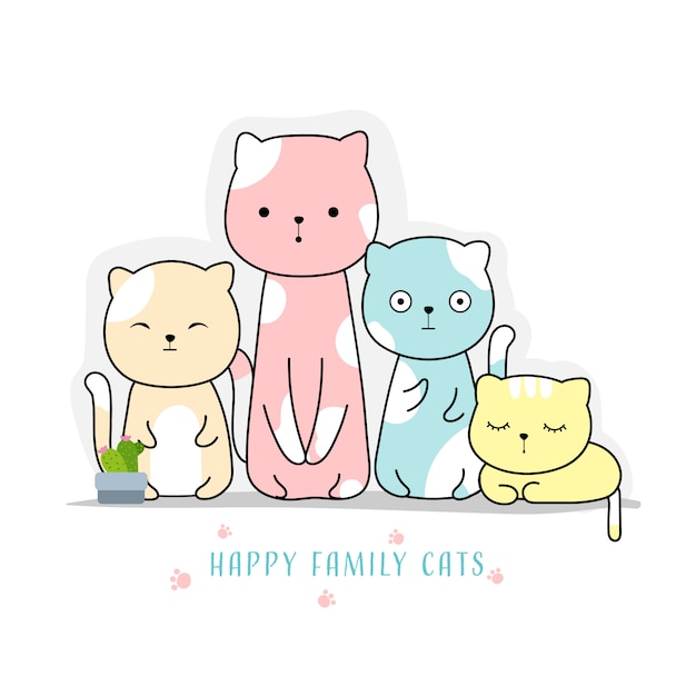 Cute family cats hand drawn style Premium Vector