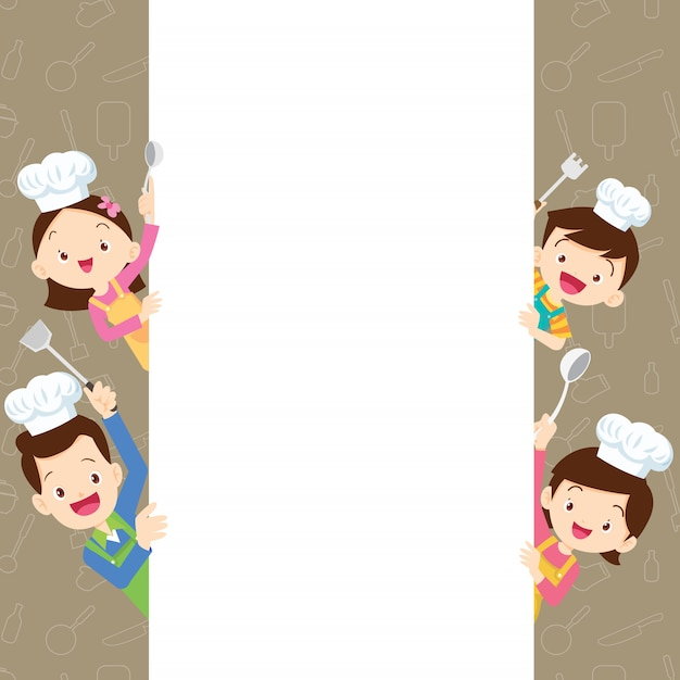 Cute family happy cooking with space frame Premium Vector